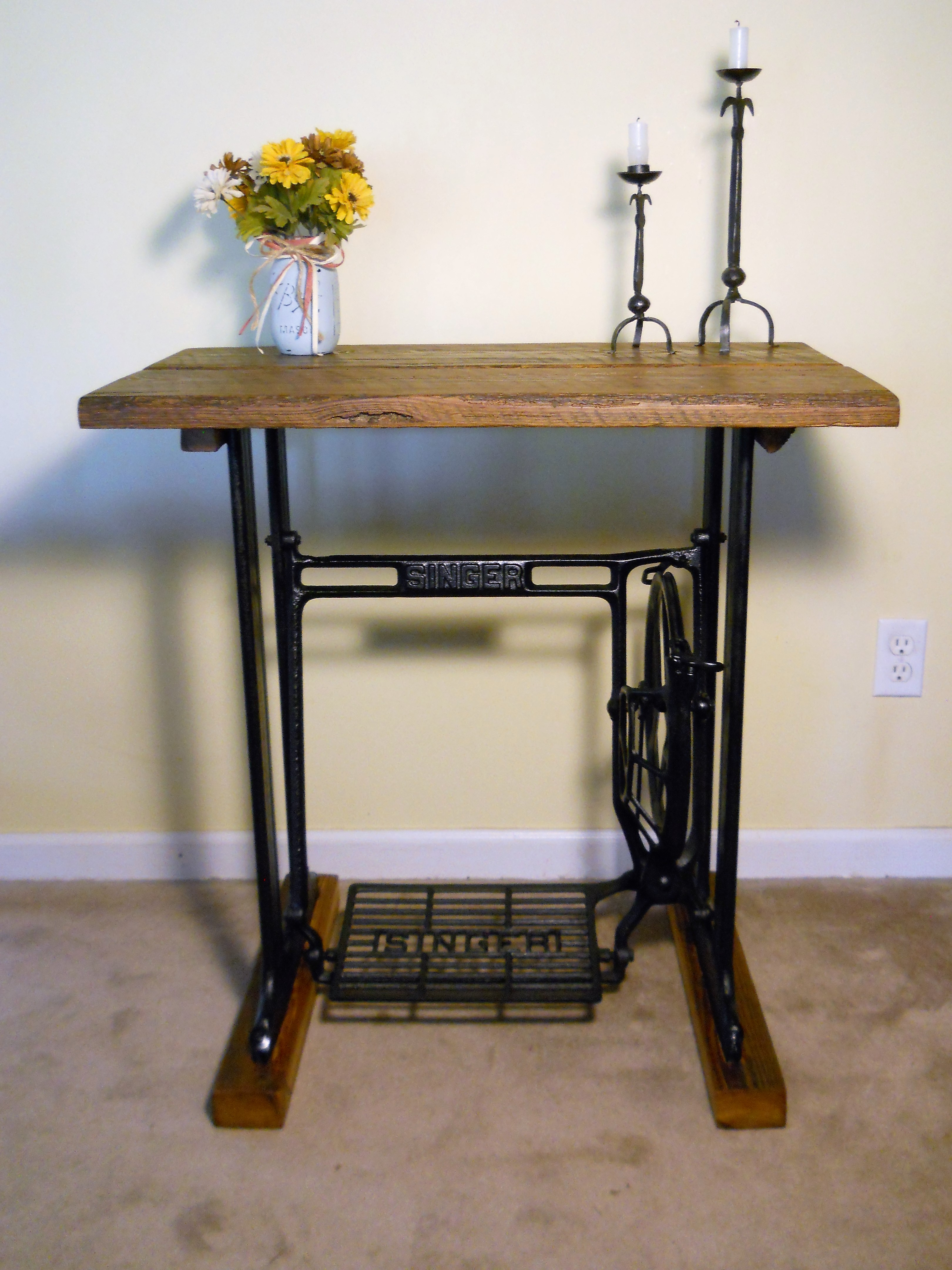 1902 Singer Sewing Machine Table With Reclaimed Wood Top.
